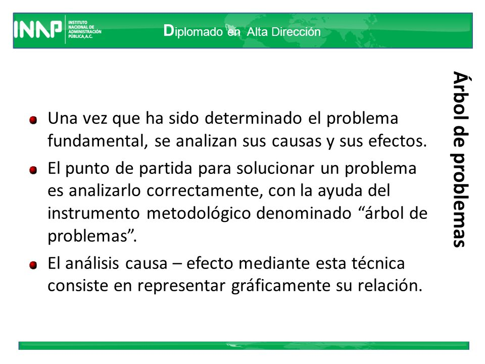 D iplomado en Alta Dirección Árbol de problemas Una vez que ha sido determinado el problema fundamental, se analizan sus causas y sus efectos. El punt