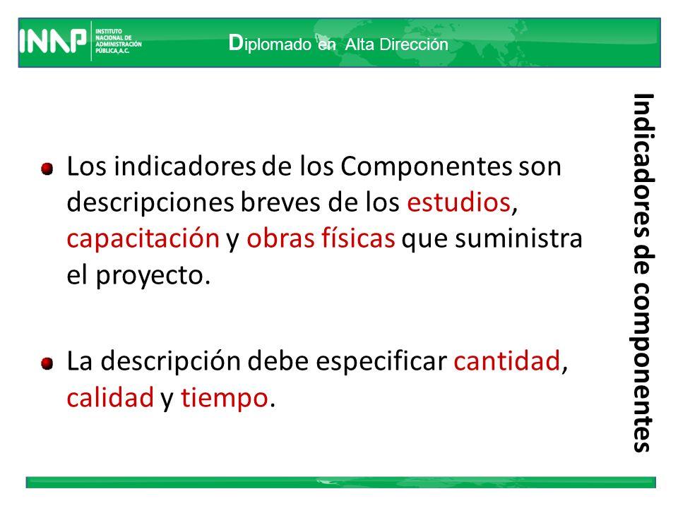 D iplomado en Alta Dirección Indicadores de componentes Los indicadores de los Componentes son descripciones breves de los estudios, capacitación y ob