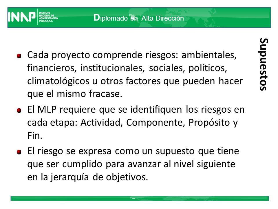 D iplomado en Alta Dirección Supuestos Cada proyecto comprende riesgos: ambientales, financieros, institucionales, sociales, políticos, climatológicos