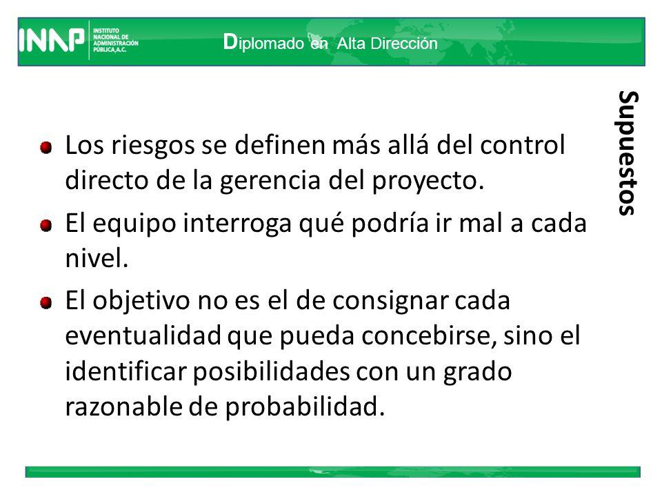 D iplomado en Alta Dirección Supuestos Los riesgos se definen más allá del control directo de la gerencia del proyecto. El equipo interroga qué podría