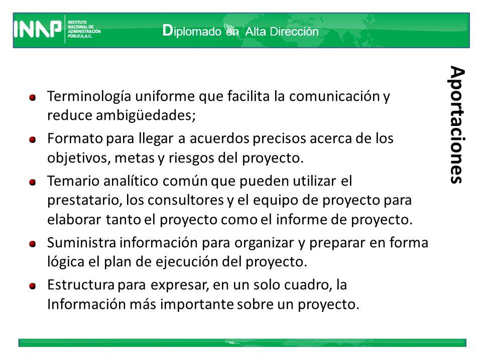 D iplomado en Alta Dirección Aportaciones Terminología uniforme que facilita la comunicación y reduce ambigüedades; Formato para llegar a acuerdos pre