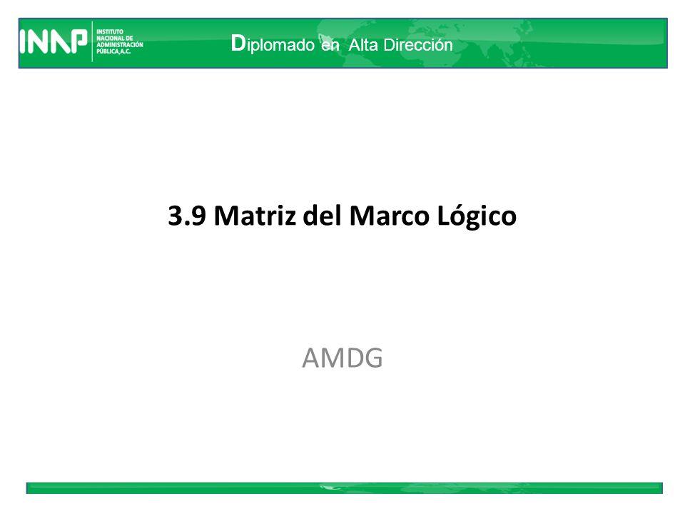 D iplomado en Alta Dirección 3.9 Matriz del Marco Lógico AMDG
