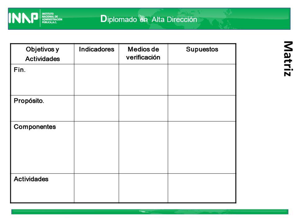 D iplomado en Alta Dirección Lógica horizontal Las columnas suministran la siguiente información (LH): – Un resumen narrativo de los objetivos y las actividades.