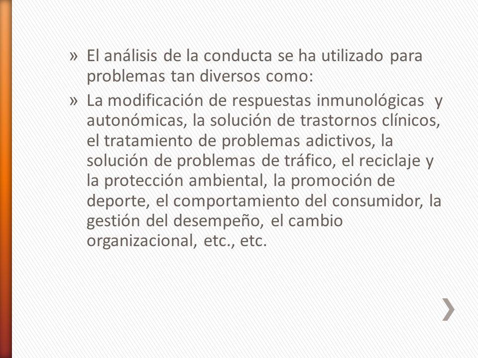 » El análisis de la conducta se ha utilizado para problemas tan diversos como: » La modificación de respuestas inmunológicas y autonómicas, la solució