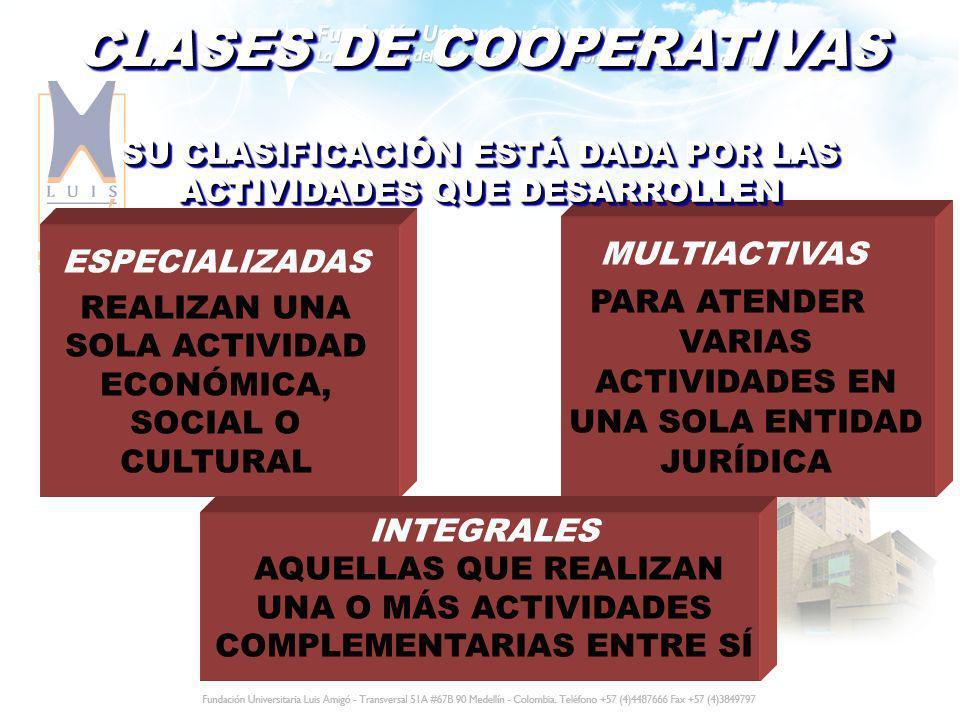 CLASES DE COOPERATIVAS ESPECIALIZADAS REALIZAN UNA SOLA ACTIVIDAD ECONÓMICA, SOCIAL O CULTURAL MULTIACTIVAS PARA ATENDER VARIAS ACTIVIDADES EN UNA SOL