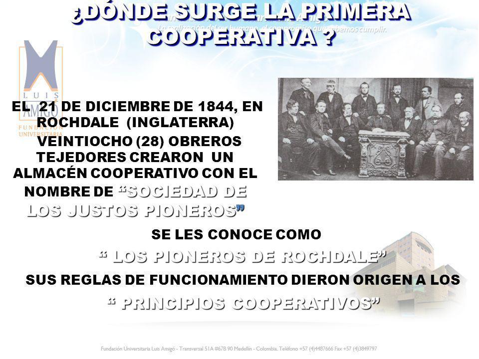 SE LES CONOCE COMO LOS PIONEROS DE ROCHDALE LOS PIONEROS DE ROCHDALE SUS REGLAS DE FUNCIONAMIENTO DIERON ORIGEN A LOS PRINCIPIOS COOPERATIVOS PRINCIPI