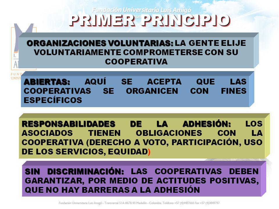 PRIMER PRINCIPIO ORGANIZACIONES VOLUNTARIAS: ORGANIZACIONES VOLUNTARIAS: LA GENTE ELIJE VOLUNTARIAMENTE COMPROMETERSE CON SU COOPERATIVA ABIERTAS: ABI