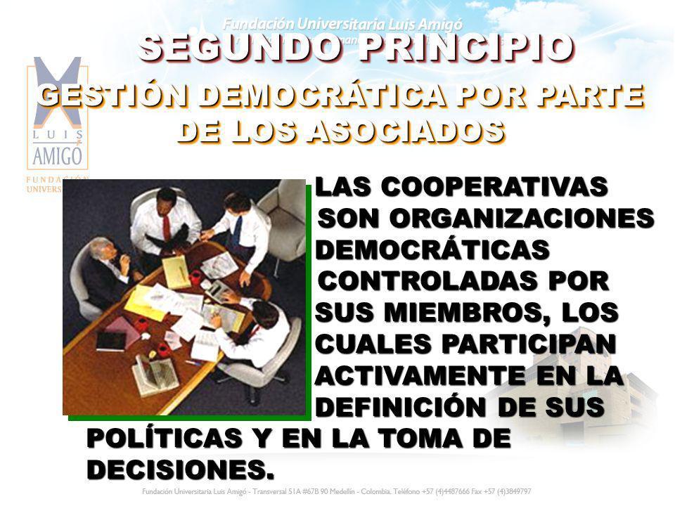 SEGUNDO PRINCIPIO GESTIÓN DEMOCRÁTICA POR PARTE DE LOS ASOCIADOS LAS COOPERATIVAS SON ORGANIZACIONES DEMOCRÁTICAS CONTROLADAS POR SUS MIEMBROS, LOS CU