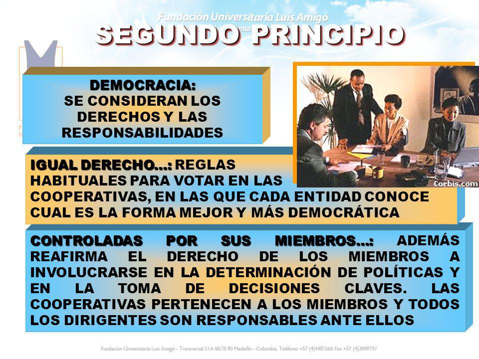 SEGUNDO PRINCIPIO DEMOCRACIA: DEMOCRACIA: SE CONSIDERAN LOS DERECHOS Y LAS RESPONSABILIDADES CONTROLADAS POR SUS MIEMBROS...: CONTROLADAS POR SUS MIEM