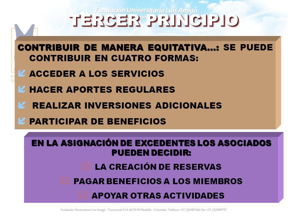 TERCER PRINCIPIO CONTRIBUIR DE MANERA EQUITATIVA...: CONTRIBUIR DE MANERA EQUITATIVA...: SE PUEDE CONTRIBUIR EN CUATRO FORMAS: í ACCEDER A LOS SERVICI