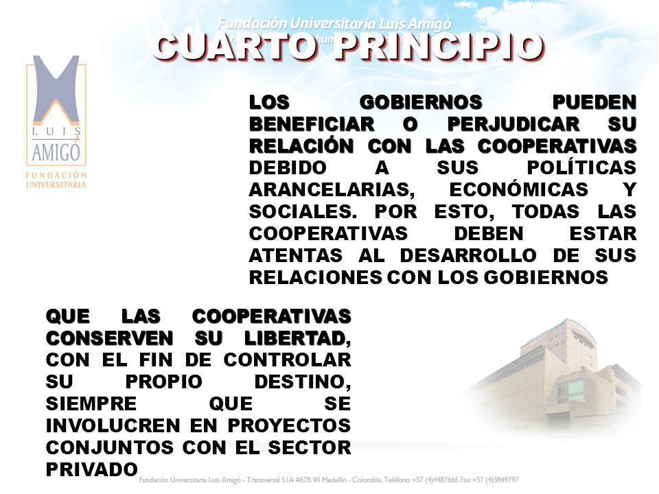 CUARTO PRINCIPIO LOS GOBIERNOS PUEDEN BENEFICIAR O PERJUDICAR SU RELACIÓN CON LAS COOPERATIVAS LOS GOBIERNOS PUEDEN BENEFICIAR O PERJUDICAR SU RELACIÓ