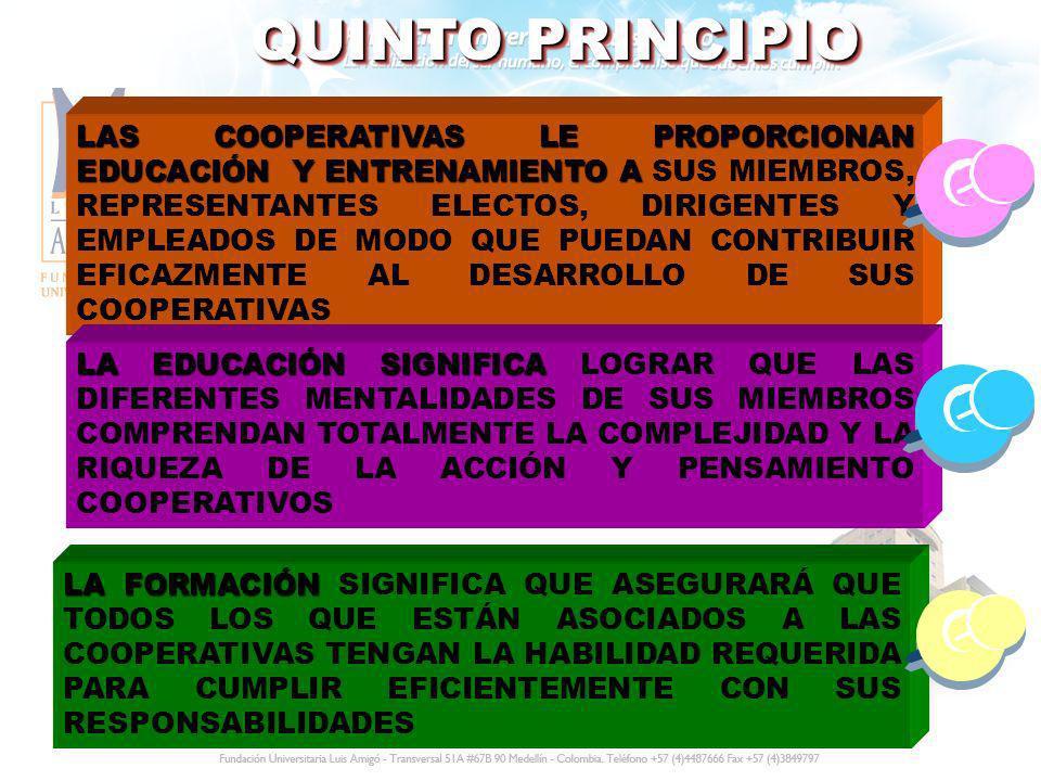 QUINTO PRINCIPIO LAS COOPERATIVAS LE PROPORCIONAN EDUCACIÓN Y ENTRENAMIENTO A LAS COOPERATIVAS LE PROPORCIONAN EDUCACIÓN Y ENTRENAMIENTO A SUS MIEMBRO