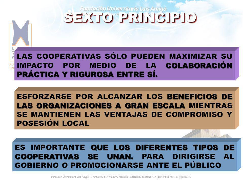 SEXTO PRINCIPIO COLABORACIÓN PRÁCTICA Y RIGUROSA ENTRE SÍ. LAS COOPERATIVAS SÓLO PUEDEN MAXIMIZAR SU IMPACTO POR MEDIO DE LA COLABORACIÓN PRÁCTICA Y R