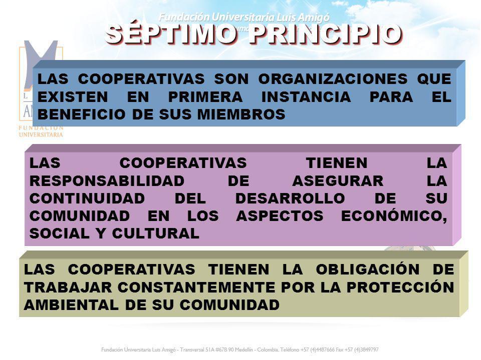 SÉPTIMO PRINCIPIO LAS COOPERATIVAS SON ORGANIZACIONES QUE EXISTEN EN PRIMERA INSTANCIA PARA EL BENEFICIO DE SUS MIEMBROS LAS COOPERATIVAS TIENEN LA RE
