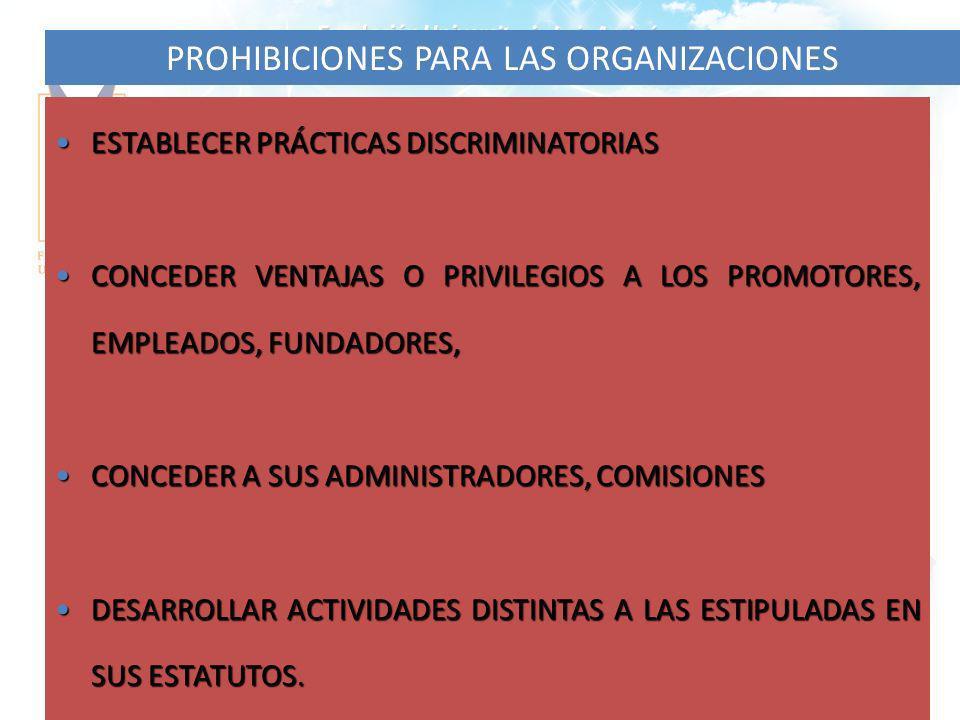 33 PROHIBICIONES PARA LAS ORGANIZACIONES ESTABLECER PRÁCTICAS DISCRIMINATORIASESTABLECER PRÁCTICAS DISCRIMINATORIAS CONCEDER VENTAJAS O PRIVILEGIOS A