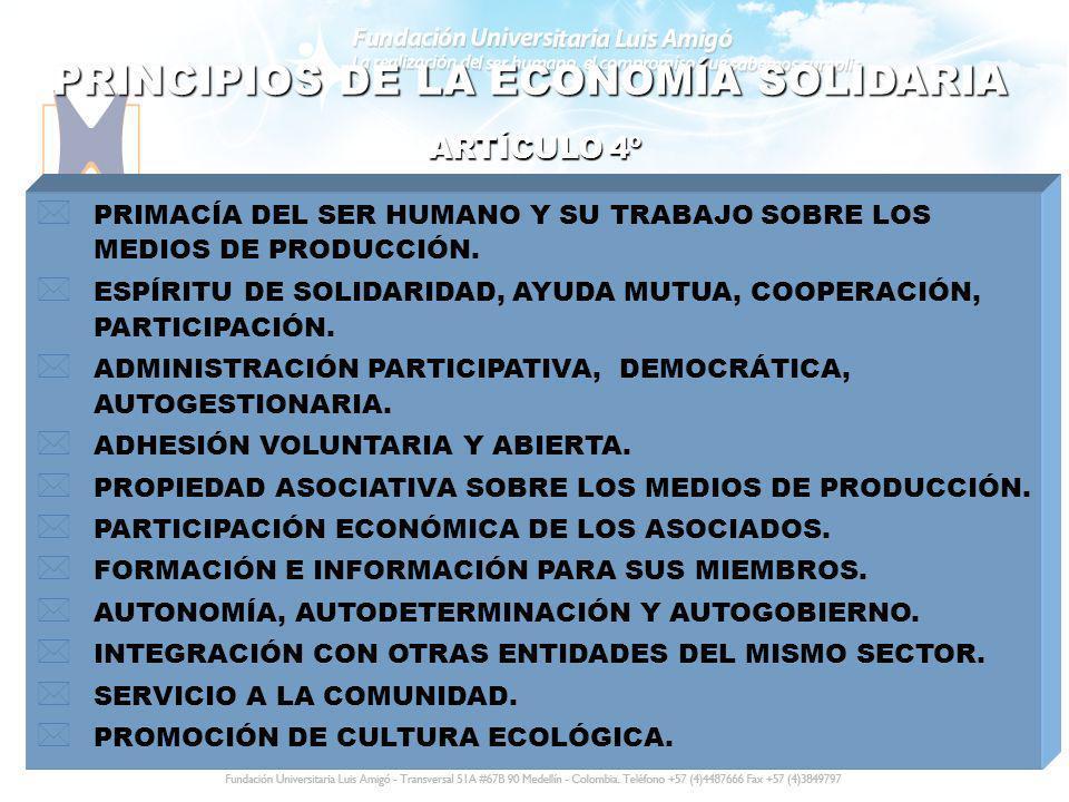 PRINCIPIOS DE LA ECONOMÍA SOLIDARIA * PRIMACÍA DEL SER HUMANO Y SU TRABAJO SOBRE LOS MEDIOS DE PRODUCCIÓN. * ESPÍRITU DE SOLIDARIDAD, AYUDA MUTUA, COO