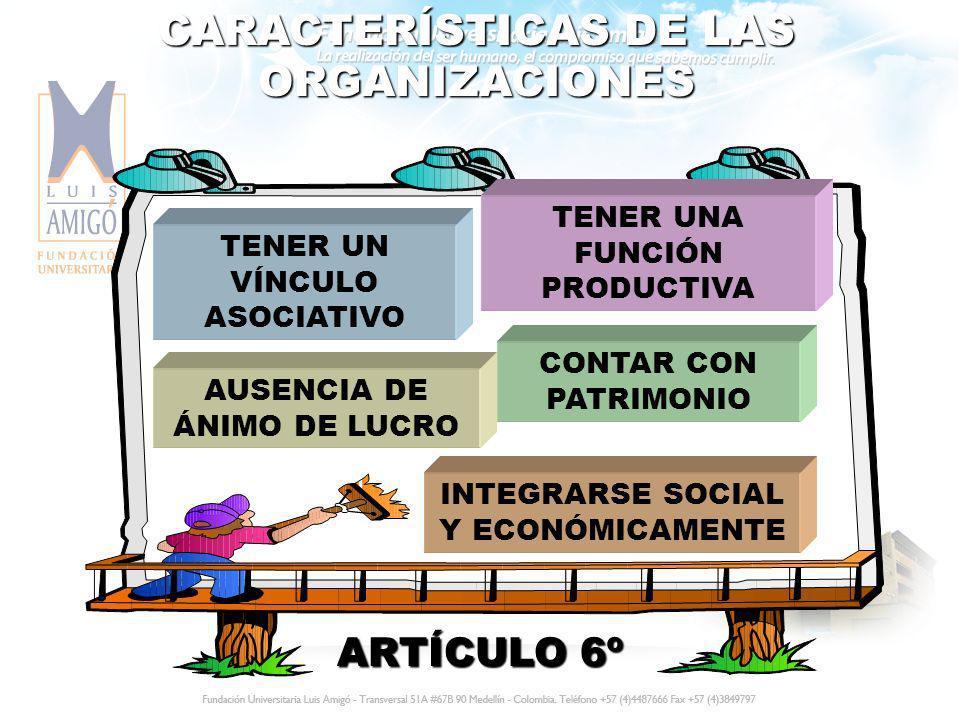 TIENEN EL CARÁCTER DE ORGANIZACIONES LAS PRECOOPERATIVAS LAS COOPERATIVAS LOS ORGANISMOS DE SEGUNDO Y TERCER GRADO LOS FONDOS DE EMPLEADOS LAS ASOCIACIONES MUTUALISTAS LAS EMPRESAS DE SERVICIOS LAS EMPRESAS COMUNITARIAS LAS EMPRESAS SOLIDARIAS DE SALUD LAS EMPRESAS ASOCIATIVAS DE TRABAJO ARTÍCULO 6º Parágrafo Segundo