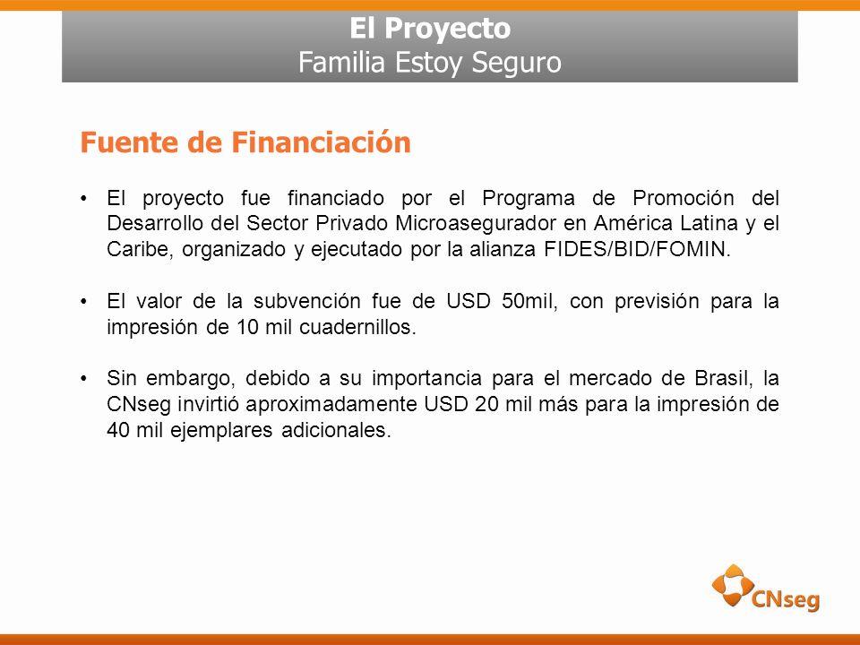 El Proyecto Familia Estoy Seguro Fuente de Financiación El proyecto fue financiado por el Programa de Promoción del Desarrollo del Sector Privado Microasegurador en América Latina y el Caribe, organizado y ejecutado por la alianza FIDES/BID/FOMIN.