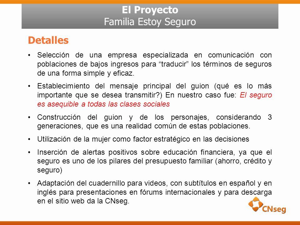 El Proyecto Familia Estoy Seguro Detalles Selección de una empresa especializada en comunicación con poblaciones de bajos ingresos para traducir los términos de seguros de una forma simple y eficaz.