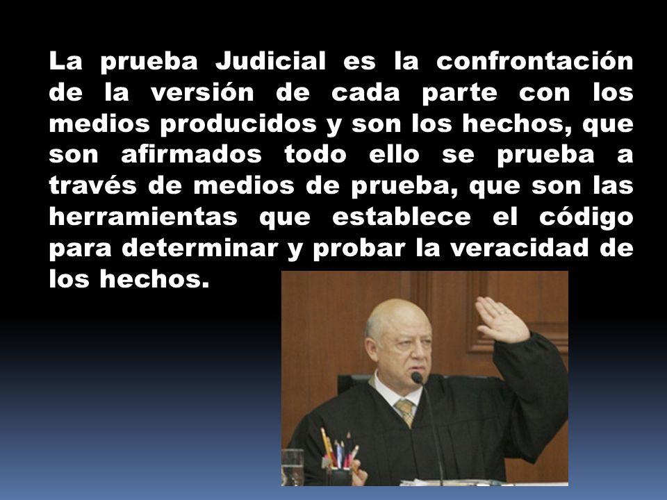 La prueba Judicial es la confrontación de la versión de cada parte con los medios producidos y son los hechos, que son afirmados todo ello se prueba a