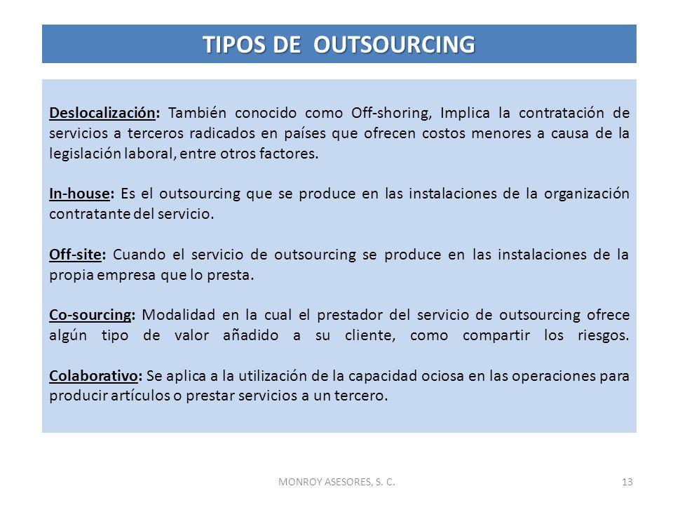 13MONROY ASESORES, S. C. Deslocalización: También conocido como Off-shoring, Implica la contratación de servicios a terceros radicados en países que o