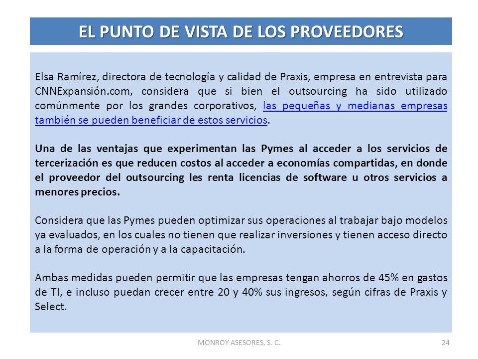 Elsa Ramírez, directora de tecnología y calidad de Praxis, empresa en entrevista para CNNExpansión.com, considera que si bien el outsourcing ha sido u