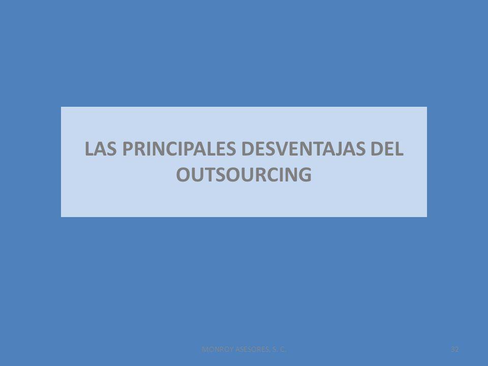 MONROY ASESORES, S. C.32 LAS PRINCIPALES DESVENTAJAS DEL OUTSOURCING