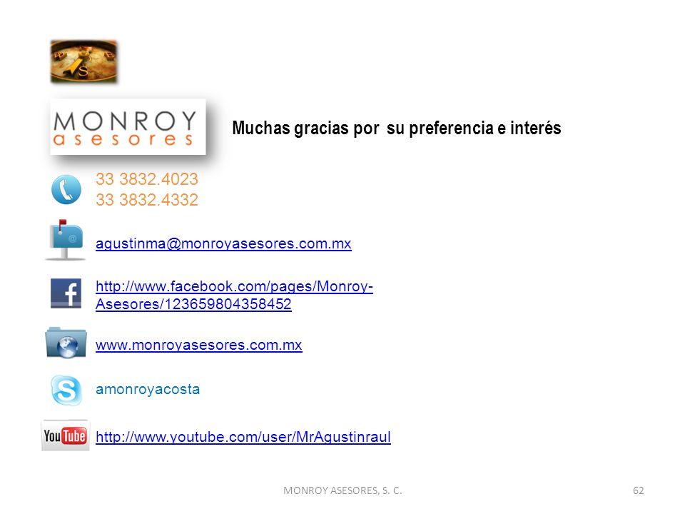 MONROY ASESORES, S. C.62 www.monroyasesores.com.mx Muchas gracias por su preferencia e interés. 33 3832.4023 33 3832.4332 agustinma@monroyasesores.com