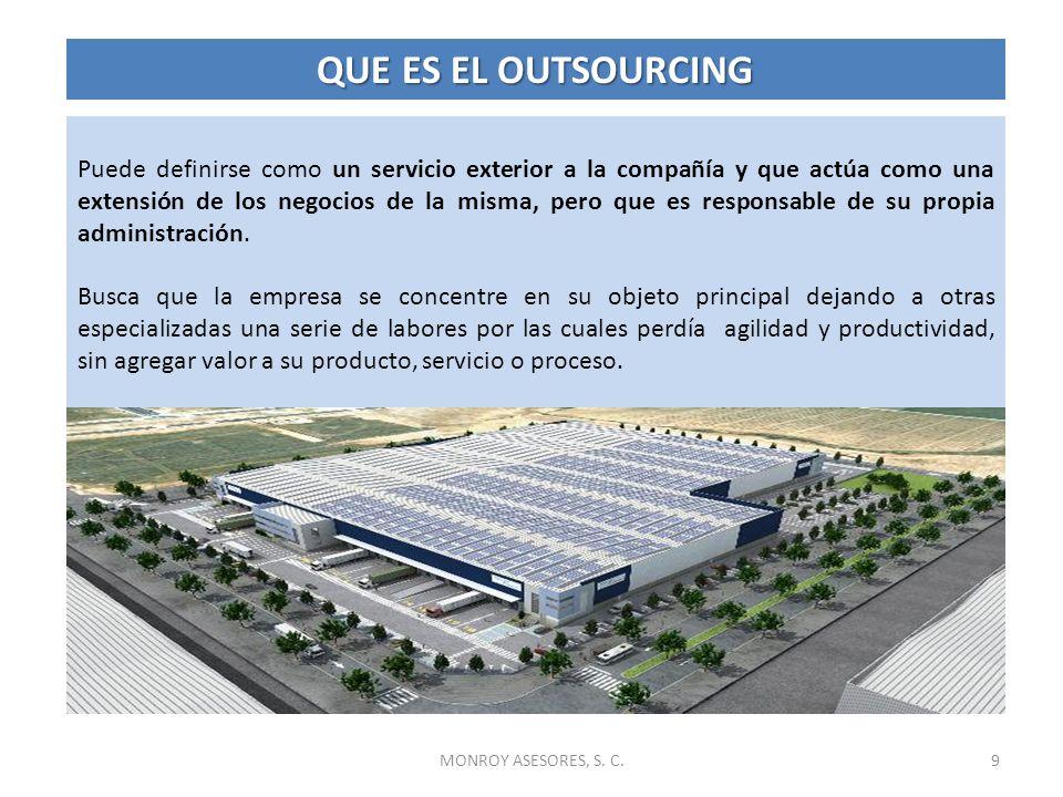 10 La Reingeniería de los procesos de negocios, la Reestructuración Organizacional, el Benchmarking y los procesos de la administración adelgazada (lean manufacturing) impulsaron el outsourcing.