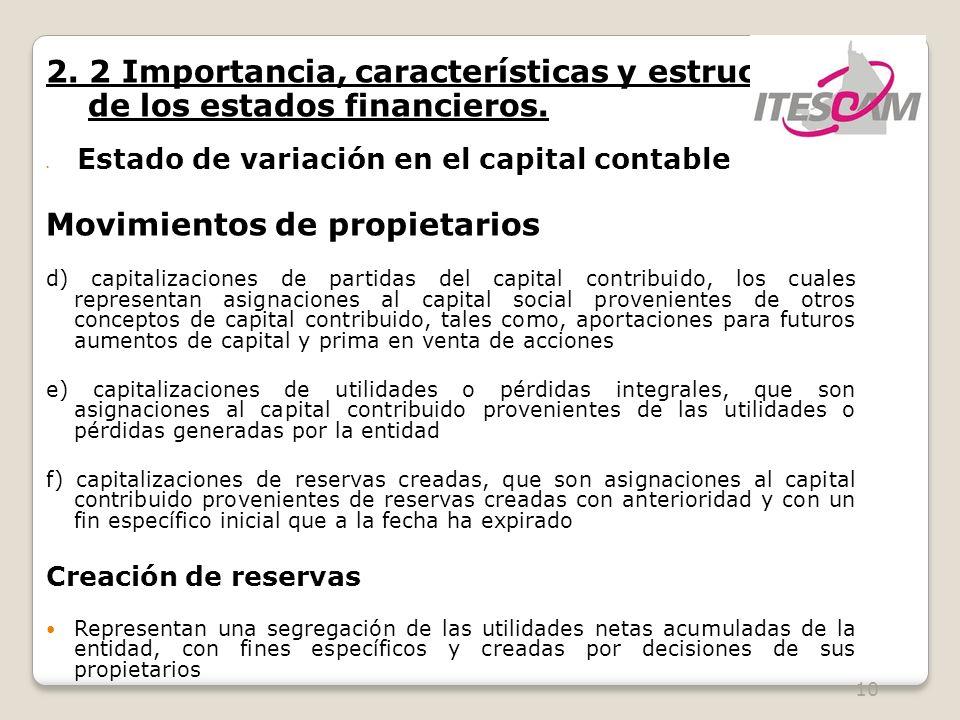 10 2. 2 Importancia, características y estructura de los estados financieros. Estado de variación en el capital contable Movimientos de propietarios d