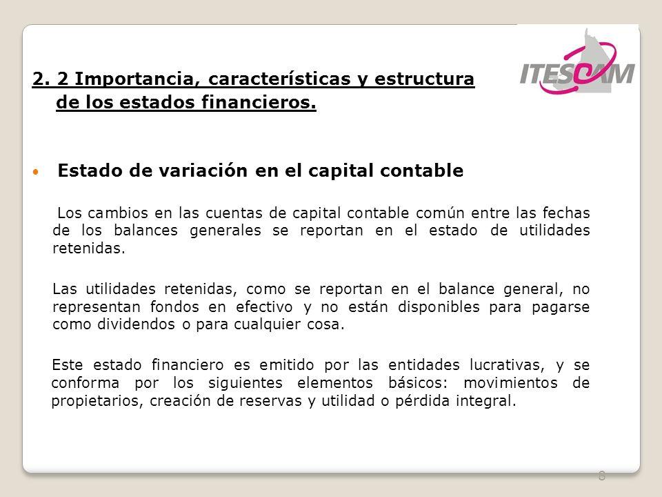 8 2. 2 Importancia, características y estructura de los estados financieros. Estado de variación en el capital contable Los cambios en las cuentas de