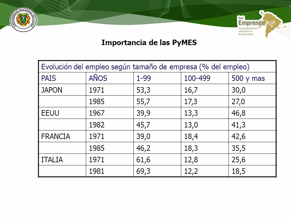 Importancia de las PyMES Productividad creciente - Mercados en expansion Producción estandarizada de bs.