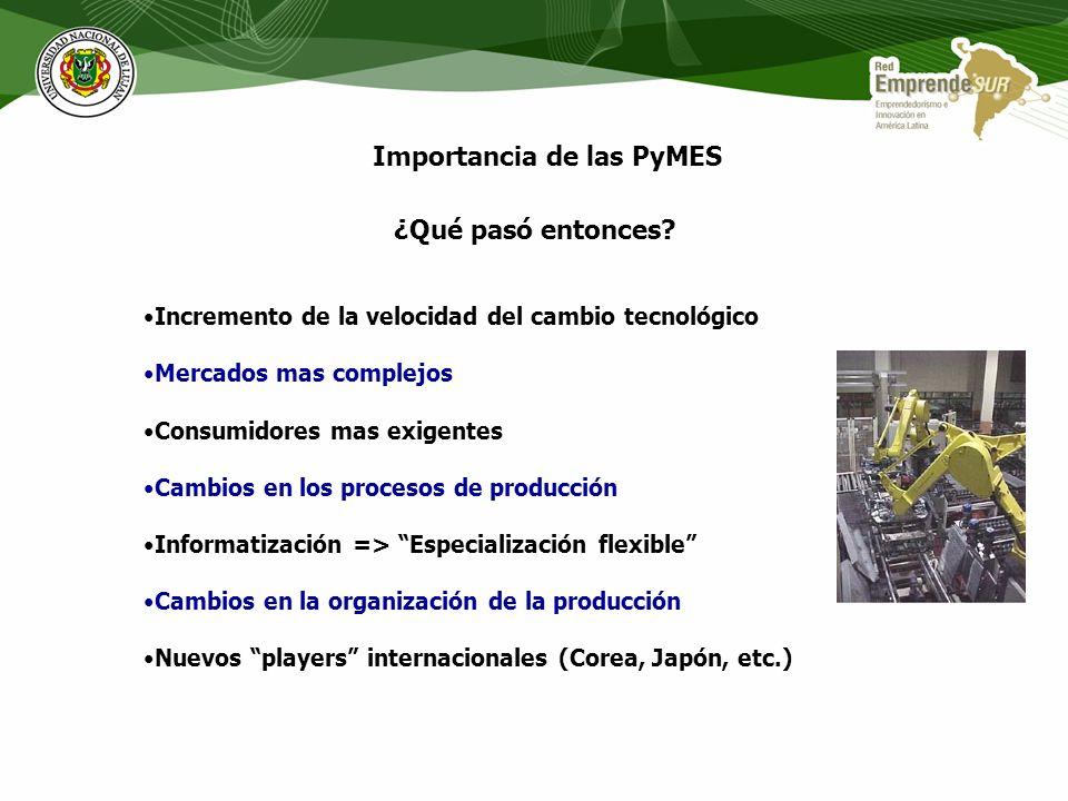 Importancia de las PyMES Evolución del empleo según tamaño de empresa (% del empleo) PAISAÑOS1-99100-499500 y mas JAPON197153,316,730,0 198555,717,327