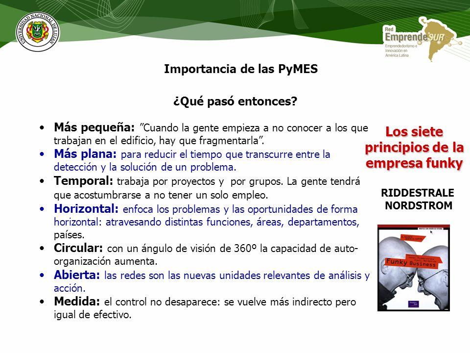 Importancia de las PyMES Las pequeñas unidades económicas se revelan como dispositivos aptos para atender demandas especializadas (nichos o pliegues d