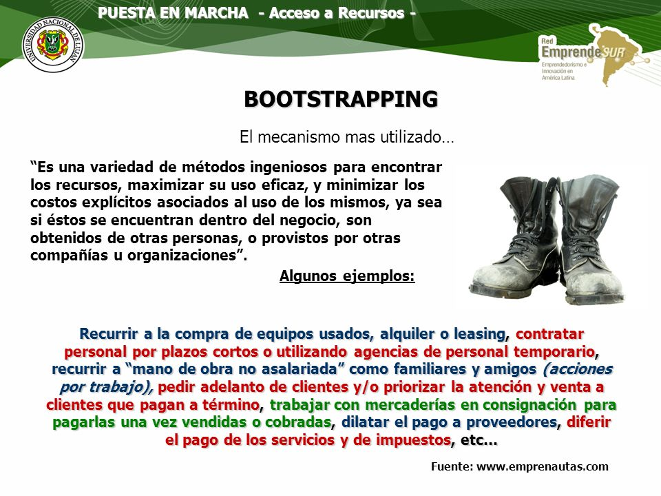 Necesidades de capital Seed Start-upCrecimientoExpansión Bootstrapping Friends, Family, Fools Angeles Inversores Business Angels Capital Riesgo Ventur