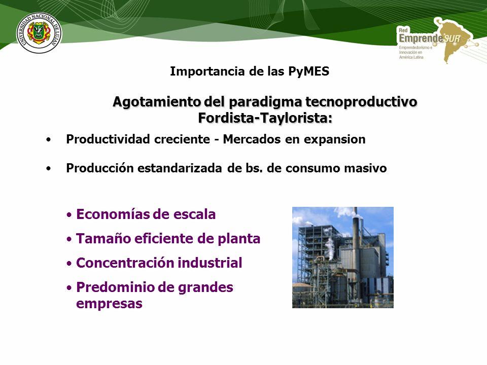 Importancia de las PyMES Agotamiento del paradigma tecnoproductivo Fordista-Taylorista: Productividad creciente - Mercados en expansion Producción estandarizada de bs.