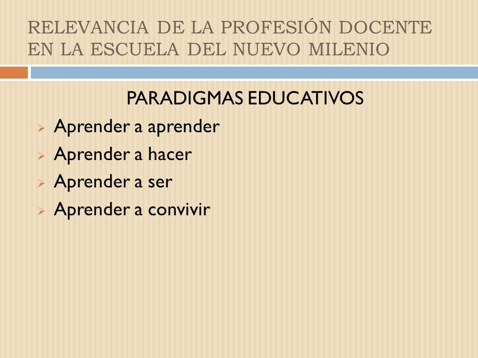 RELEVANCIA DE LA PROFESIÓN DOCENTE EN LA ESCUELA DEL NUEVO MILENIO Preguntas que debe plantearse el docente en el ejercicio de su profesión: Qué es ne