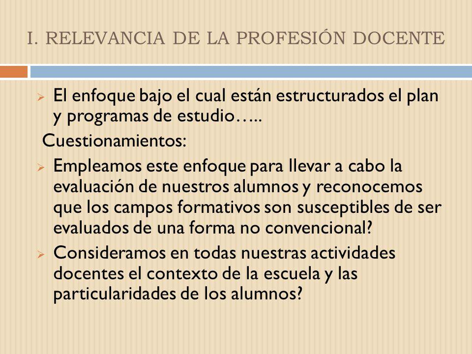 I. RELEVANCIA DE LA PROFESIÓN DOCENTE REFLEXIONES…. Las competencias que necesita el maestro para participar en los retos educativos que demanda el si