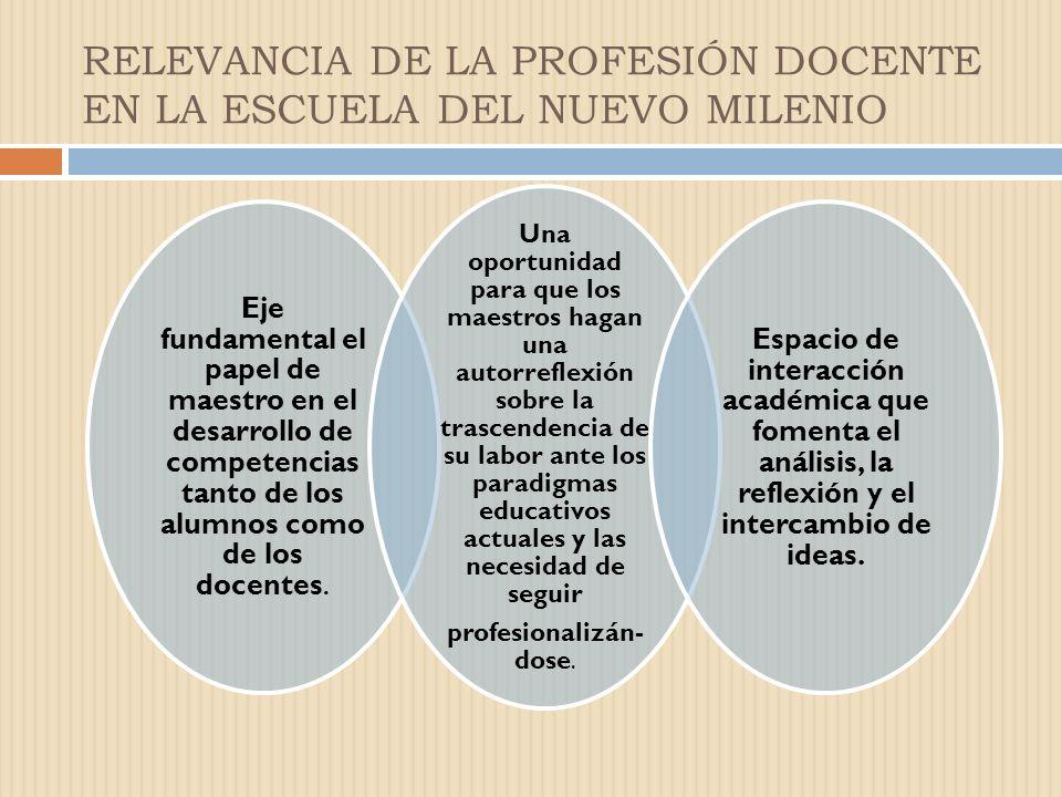 Eje fundamental el papel de maestro en el desarrollo de competencias tanto de los alumnos como de los docentes.