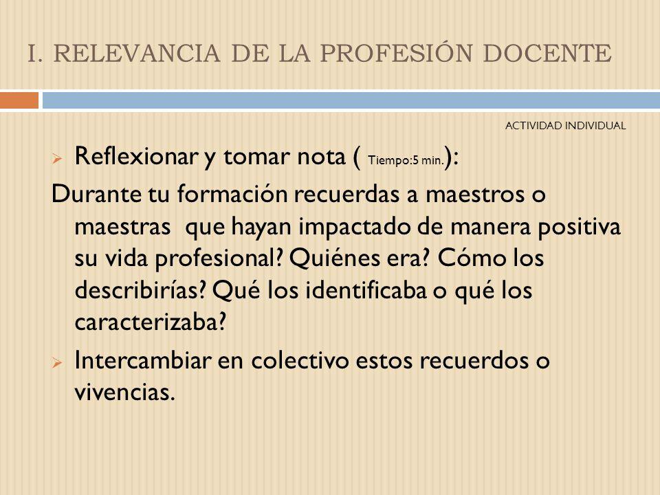I. RELEVANCIA DE LA PROFESIÓN DOCENTE Las competencias están ligadas al contexto de trabajo en el que el docente se desarrolle. Desarrollo de competen
