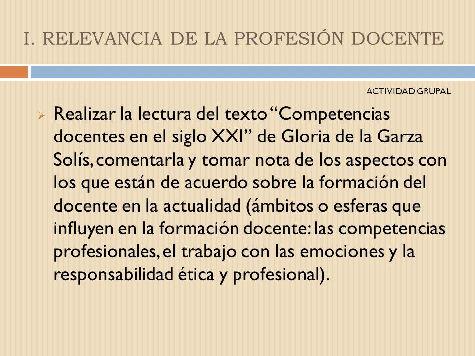 I. RELEVANCIA DE LA PROFESIÓN DOCENTE ACTIVIDAD GRUPAL Con las aportaciones elaborar un listado de las características de los maestros y maestras que