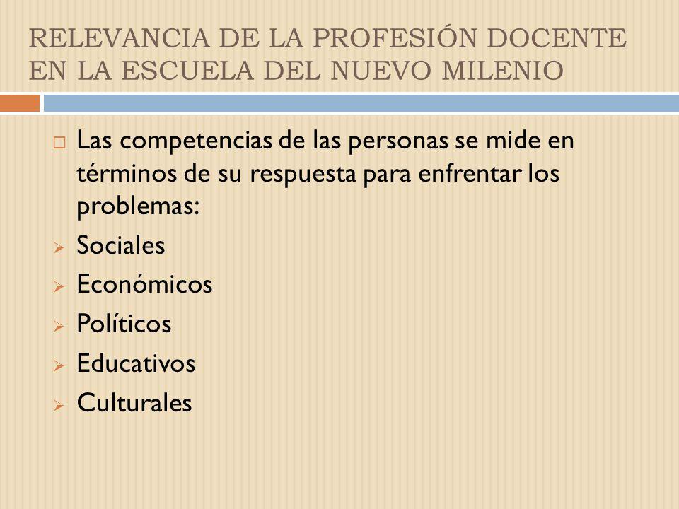 RELEVANCIA DE LA PROFESIÓN DOCENTE EN LA ESCUELA DEL NUEVO MILENIO Las competencias de las personas se mide en términos de su respuesta para enfrentar los problemas: Sociales Económicos Políticos Educativos Culturales