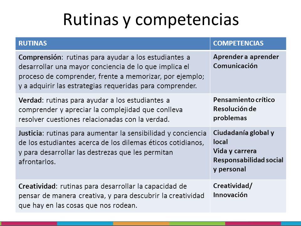 Rutinas y competencias RUTINASCOMPETENCIAS Comprensión: rutinas para ayudar a los estudiantes a desarrollar una mayor conciencia de lo que implica el