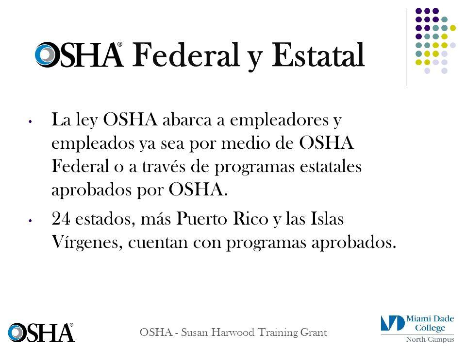 OSHA - Susan Harwood Training Grant La ley OSHA abarca a empleadores y empleados ya sea por medio de OSHA Federal o a través de programas estatales ap