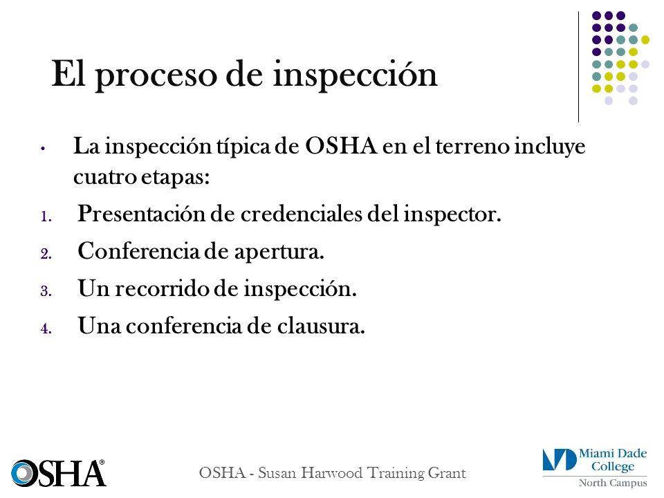 OSHA - Susan Harwood Training Grant La inspección típica de OSHA en el terreno incluye cuatro etapas: 1. Presentación de credenciales del inspector. 2