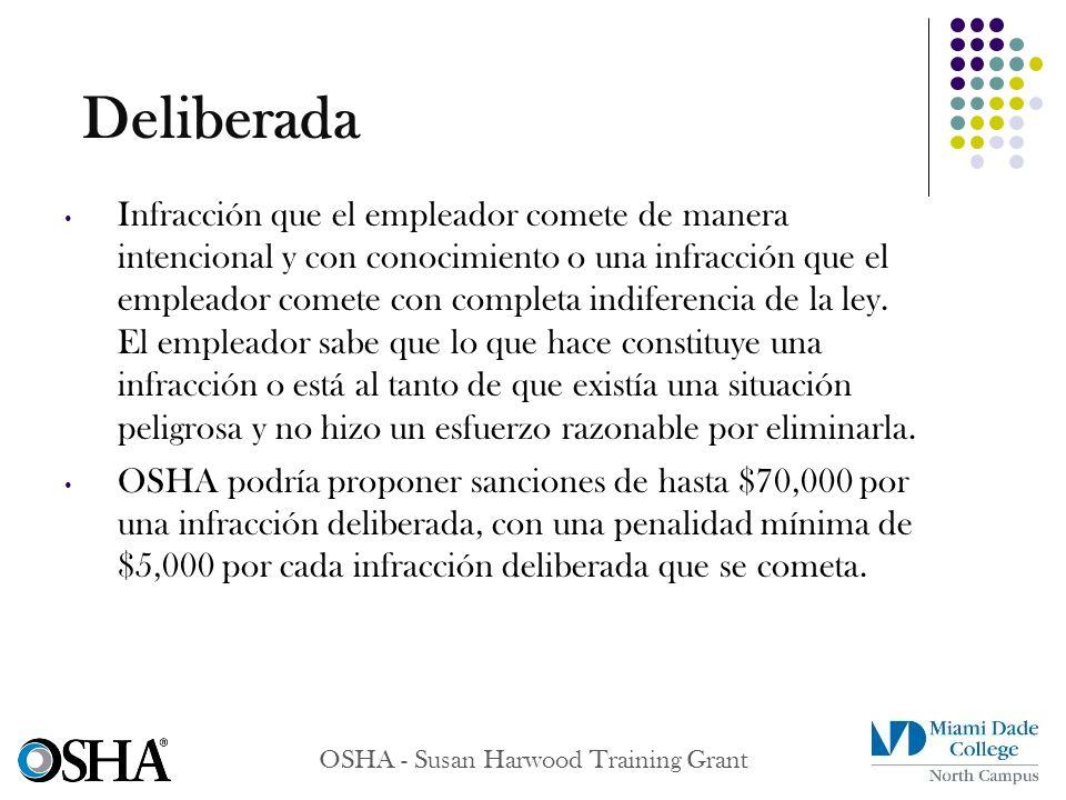 OSHA - Susan Harwood Training Grant Infracción que el empleador comete de manera intencional y con conocimiento o una infracción que el empleador come