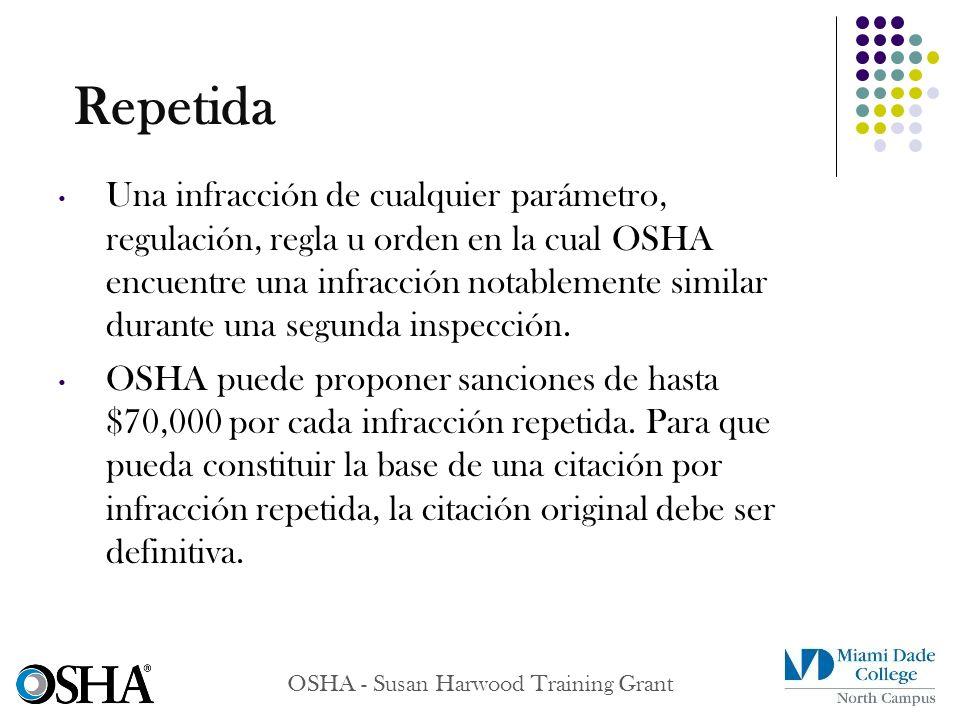 OSHA - Susan Harwood Training Grant Una infracción de cualquier parámetro, regulación, regla u orden en la cual OSHA encuentre una infracción notablem