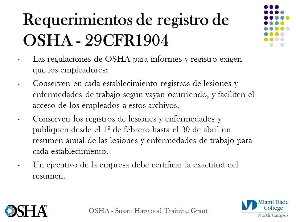 OSHA - Susan Harwood Training Grant Las regulaciones de OSHA para informes y registro exigen que los empleadores: Conserven en cada establecimiento re