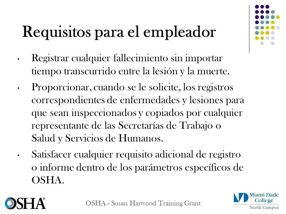 OSHA - Susan Harwood Training Grant Registrar cualquier fallecimiento sin importar tiempo transcurrido entre la lesión y la muerte. Proporcionar, cuan