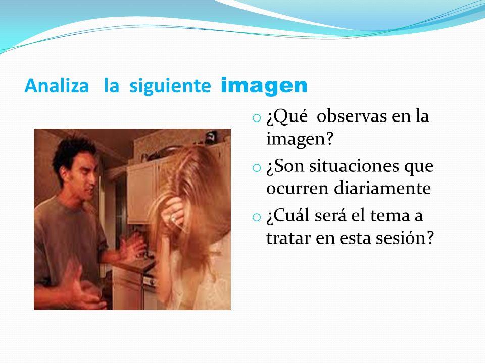 Analiza la siguiente imagen o ¿Qué observas en la imagen? o ¿Son situaciones que ocurren diariamente o ¿Cuál será el tema a tratar en esta sesión?